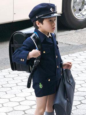 Elementary schoolboy wearing a gakuran