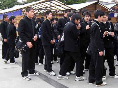 Boys wearing gakuran